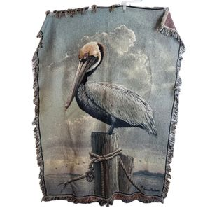 Hautman Pelican on the Waterfront Tapestry Throw